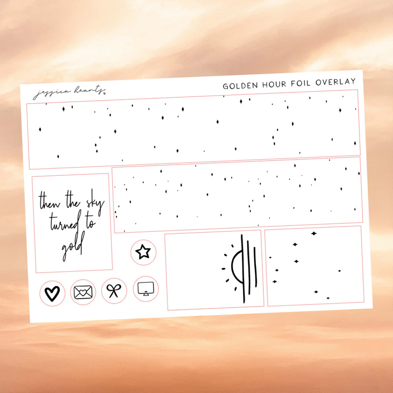 Golden Hour Foil Overlay Sticker Sheet (Transparent)