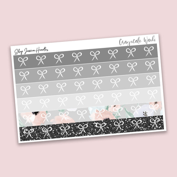 Grayscale Washi Style Stickers