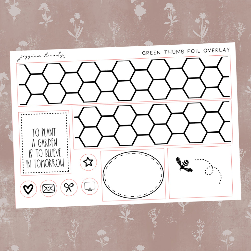Green Thumb Foil Overlay Sticker Sheet (Transparent)