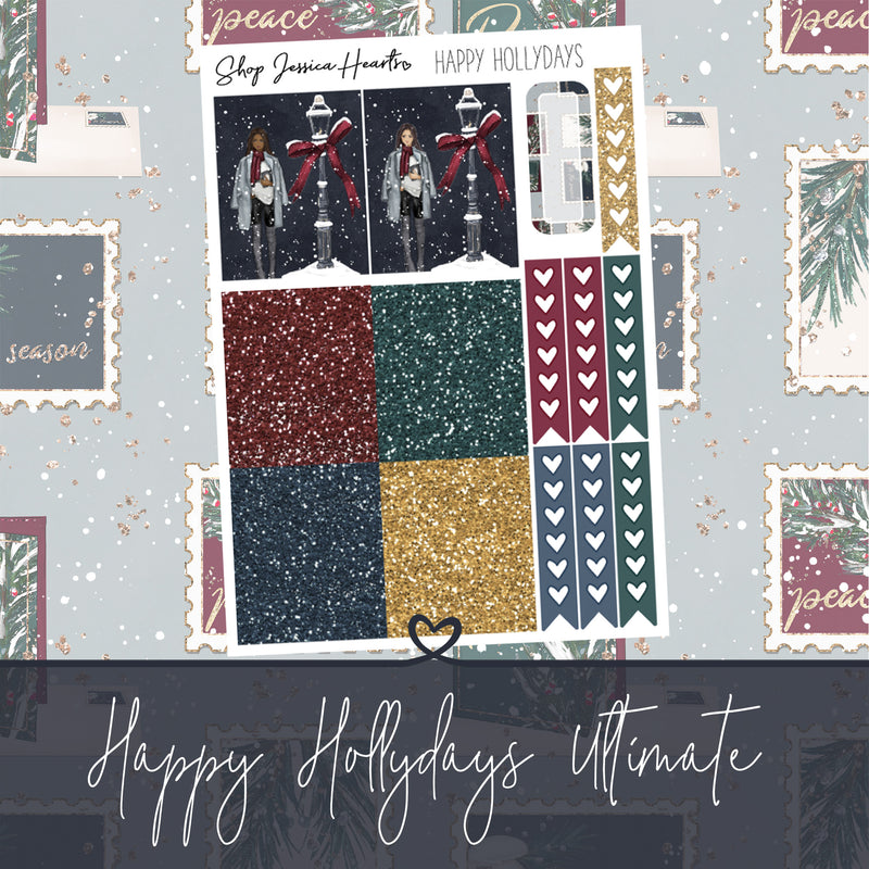 Happy Hollydays Ultimate Sheet, planner stickers - Jessica Hearts