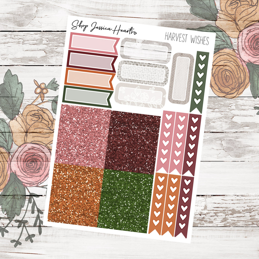 Harvest Wishes Ultimate Sheet, planner stickers - Jessica Hearts