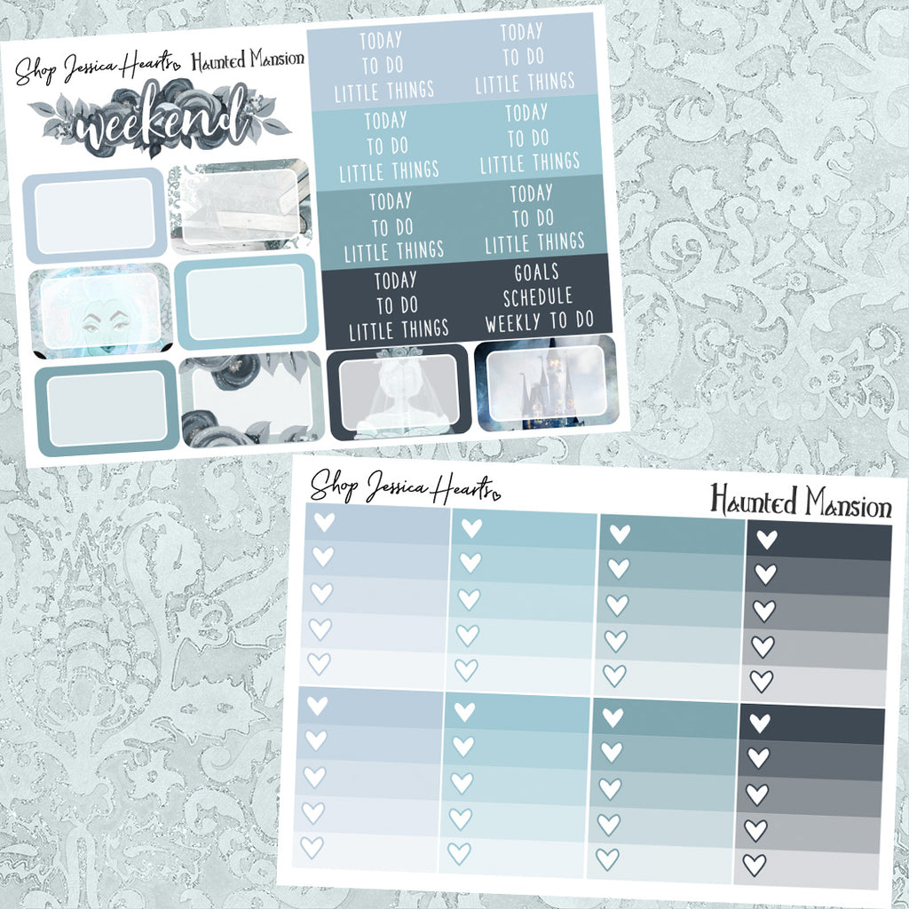 Haunted Mansion Weekly Sticker Kit, planner stickers - Jessica Hearts