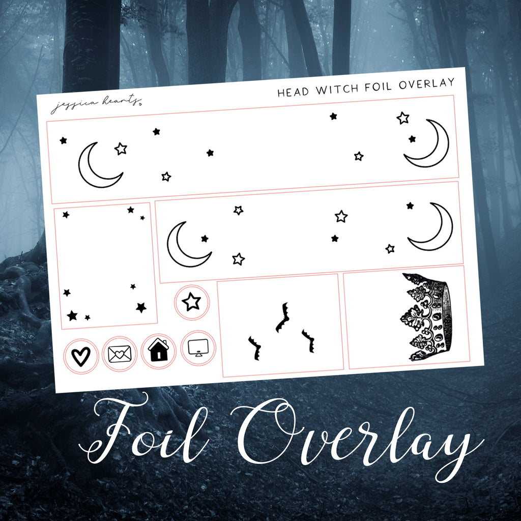 Head Witch Foil Overlay Sticker Sheet (Transparent)