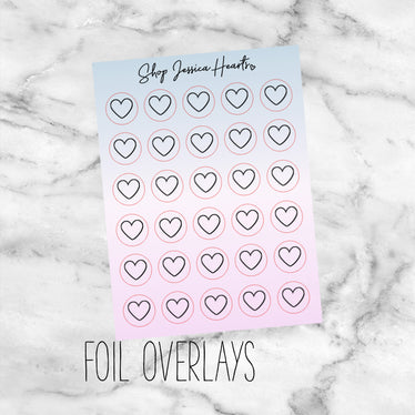 Foiled Heart Cotton Candy Ombre Icon Stickers (Transparent),  - Jessica Hearts