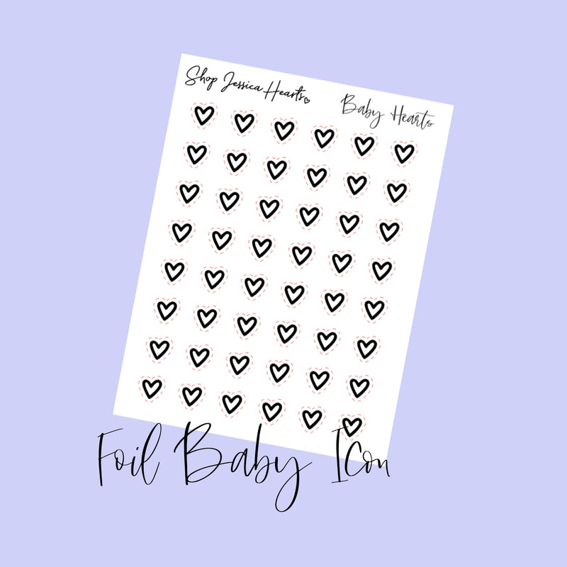 Foil Heart Baby Icon Stickers (Transparent)