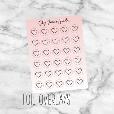 Foiled Heart Blush Ombre Icon Stickers (Transparent),  - Jessica Hearts