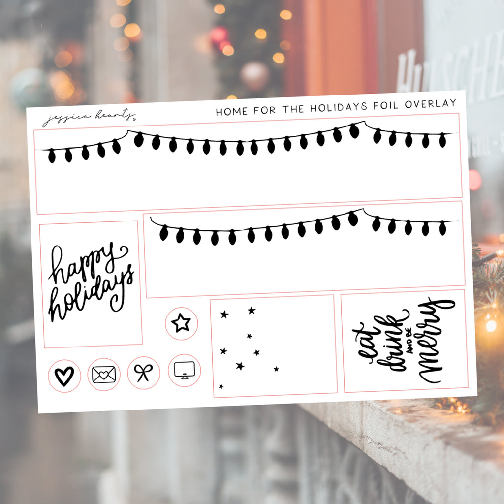 Home for the Holidays Foil Overlay Sticker Sheet (Transparent)