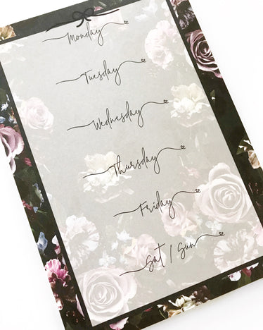 Midnight Floral Notepad, notepad - Jessica Hearts