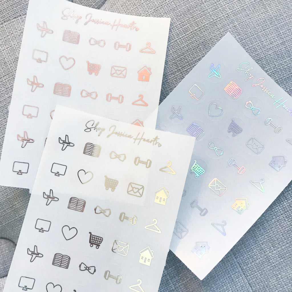 Foiled Icon Stickers,  - Jessica Hearts