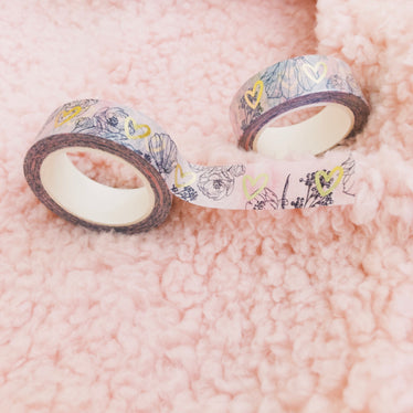 Floral Hearts Foil Washi Tape Limited Edition,  - Jessica Hearts
