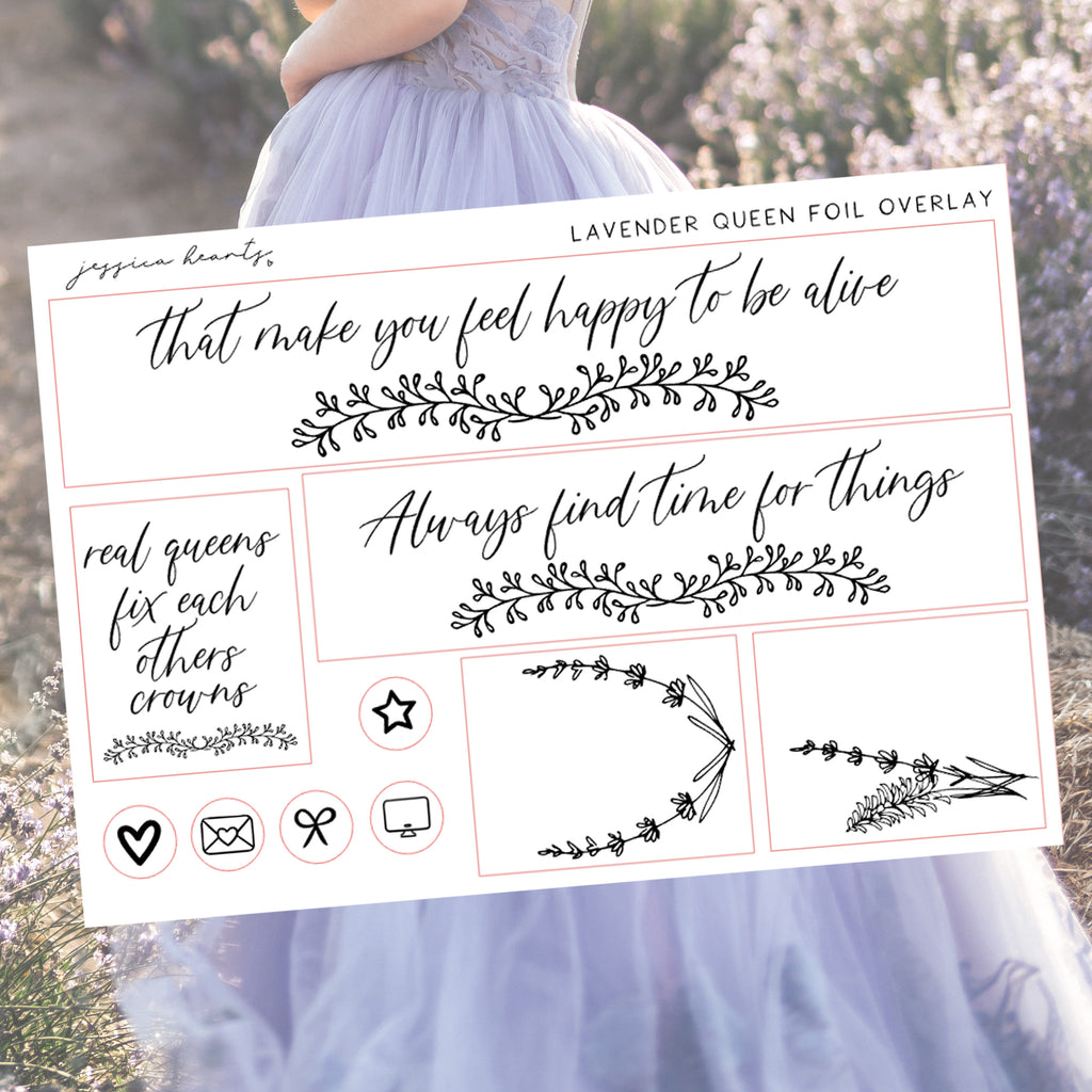 Lavender Queen Foil Overlay Sticker Sheet (Transparent)