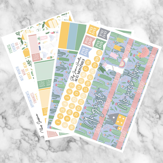 Llama Drama August Monthly Kit, planner stickers - Jessica Hearts