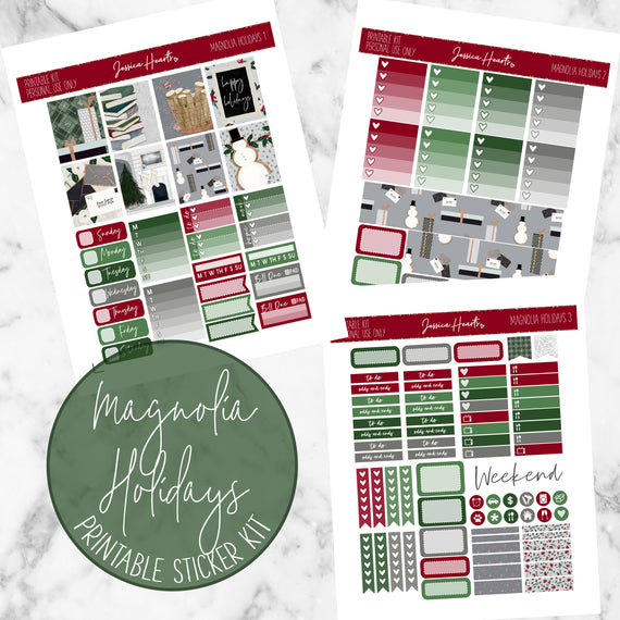 Magnolia Holidays Printable Sticker Kit (Download),  - Jessica Hearts