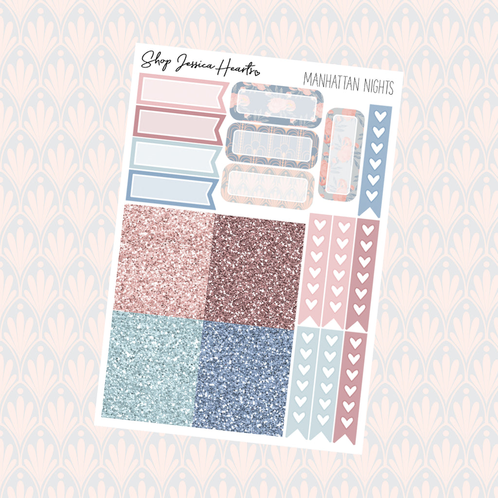Manhattan Nights Ultimate Sheet, planner stickers - Jessica Hearts