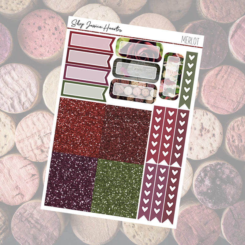 Merlot Ultimate Sheet, planner stickers - Jessica Hearts