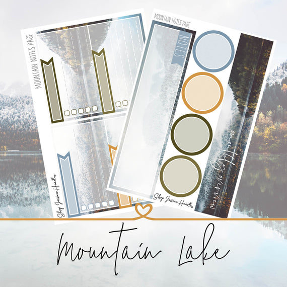 Mountain Lake December Notes Page Kit, Monthly/Notes Kits - Jessica Hearts