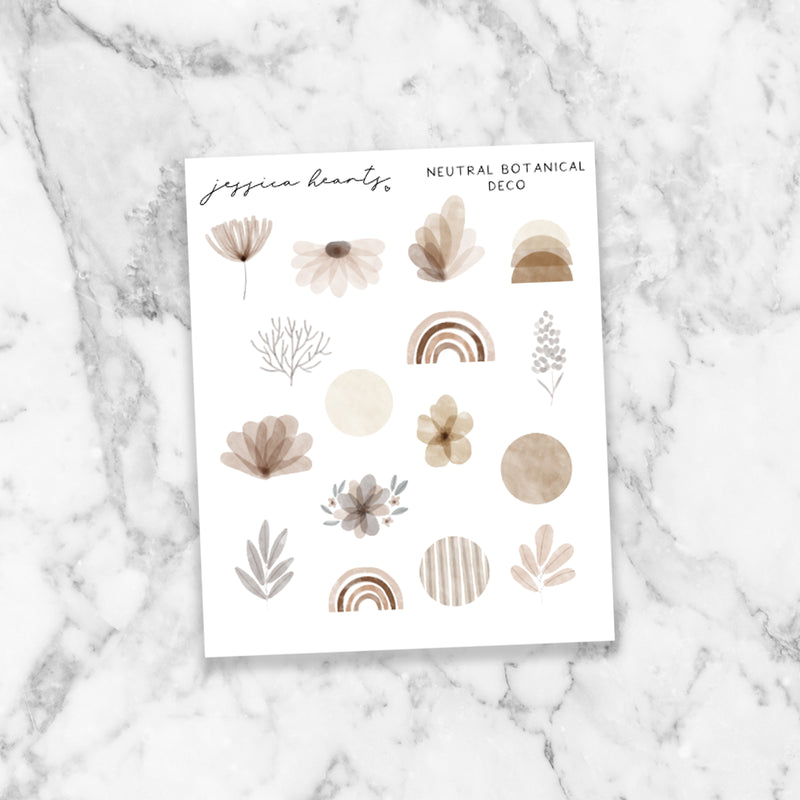 Neutral Botanical Deco (Transparent Matte Paper)