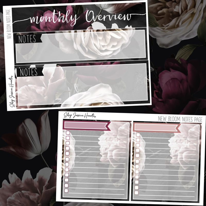 New Bloom January Notes Page Kit, Monthly/Notes Kits - Jessica Hearts