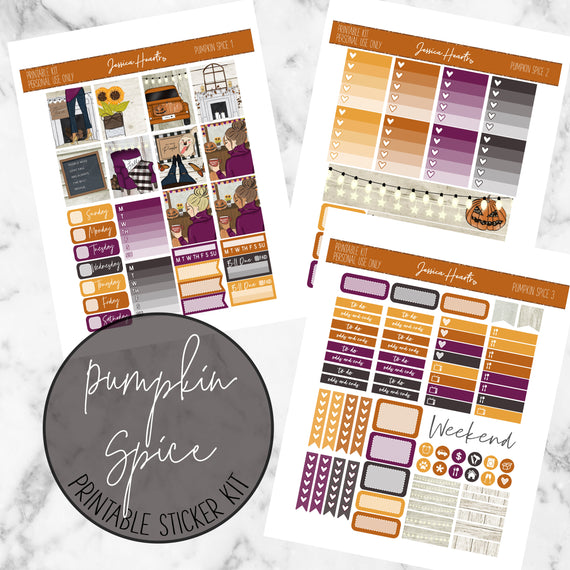 Pumpkin Spice Printable Kit (Download),  - Jessica Hearts