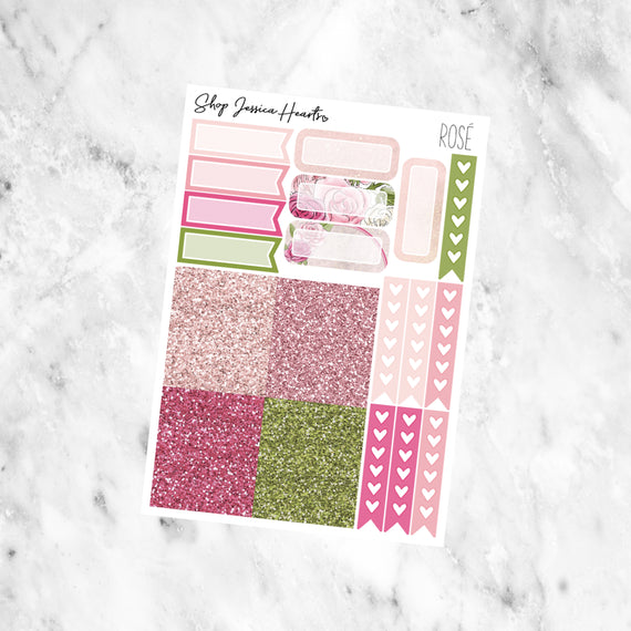 Rosè Ultimate Sticker Sheet, planner stickers - Jessica Hearts