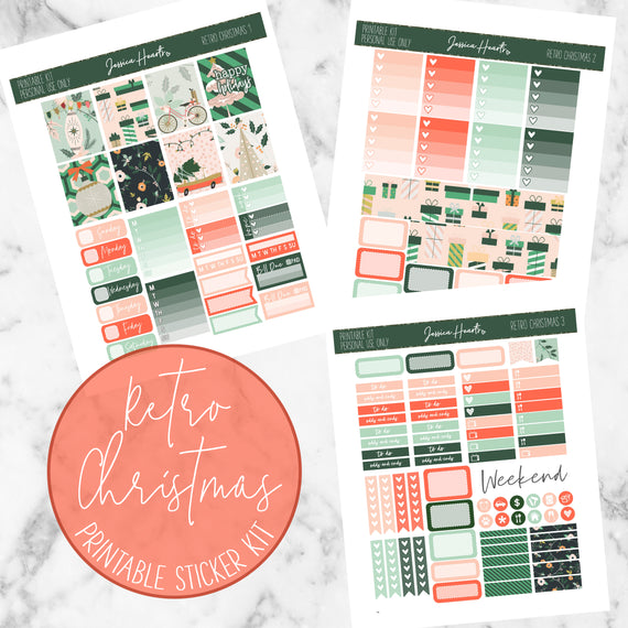 Retro Christmas Printable Kit (Download)