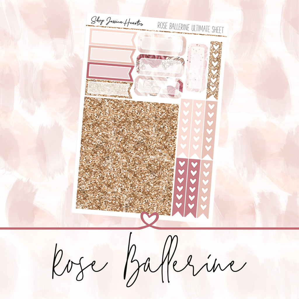 Rose Ballerine Ultimate Sheet, planner stickers - Jessica Hearts