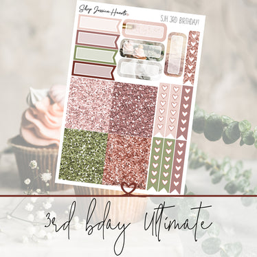 Our 3rd Birthday Limited Edition Ultimate Sheet, planner stickers - Jessica Hearts