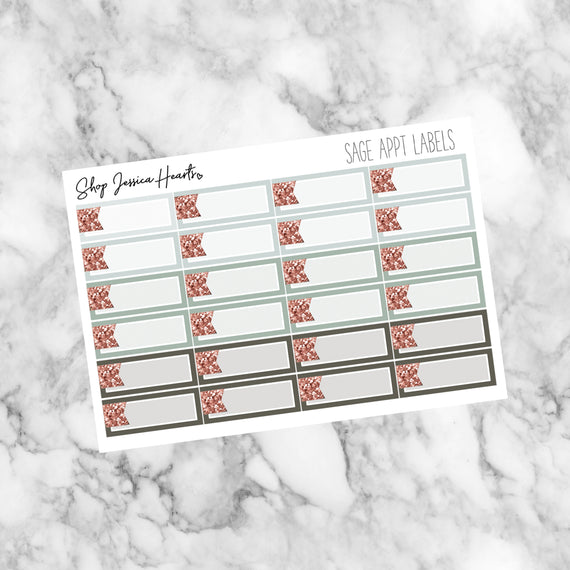Sage Appointment Labels, planner stickers - Jessica Hearts