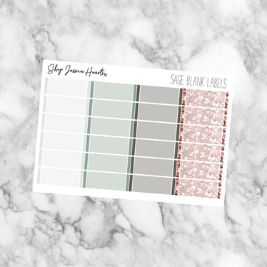 Sage Blank Label Stickers, planner stickers - Jessica Hearts