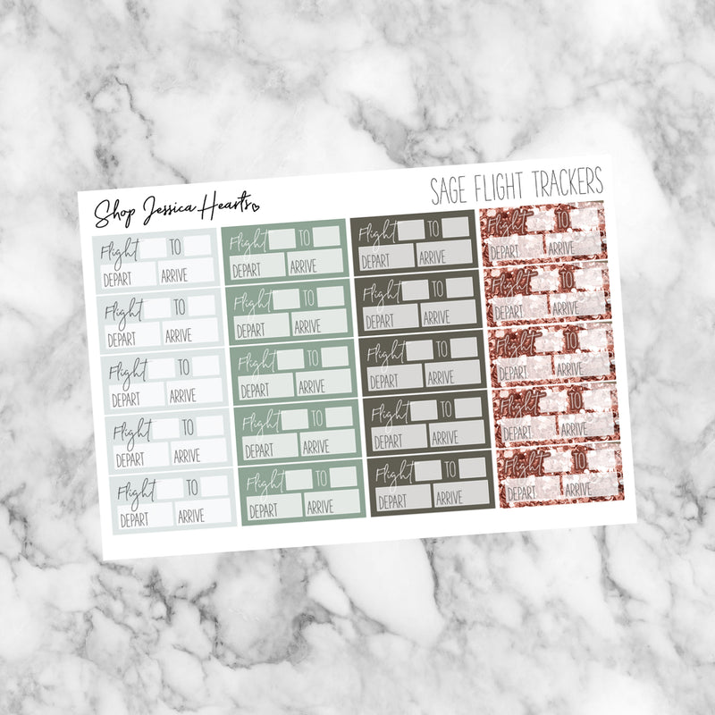 Sage Flight Tracker Stickers, planner stickers - Jessica Hearts