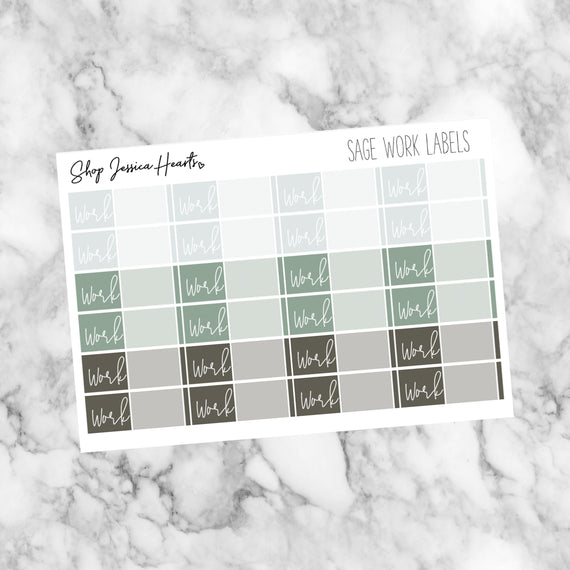 Sage Work Label Stickers, planner stickers - Jessica Hearts