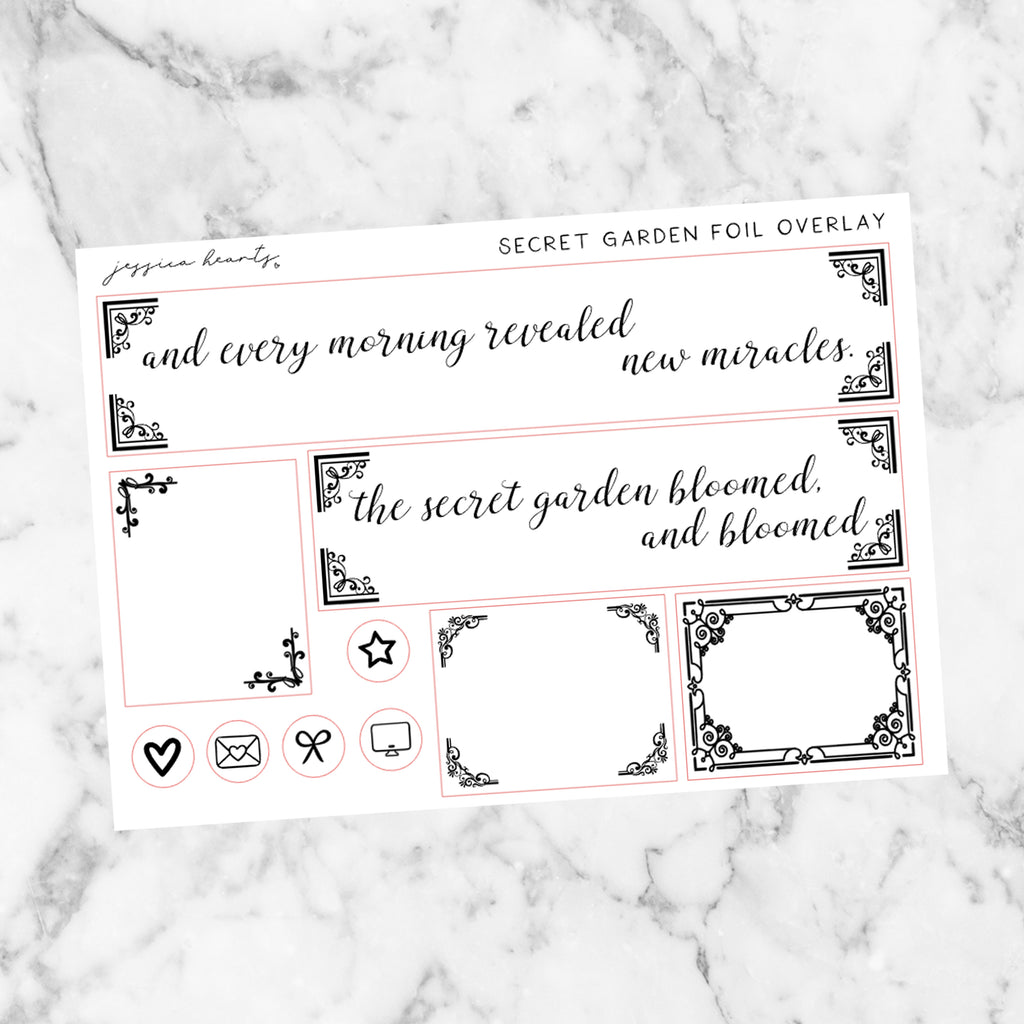 Secret Garden Foil Overlay Sticker Sheet (Transparent)