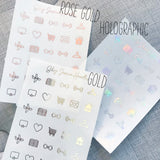 Think Pink Foil Overlay Sticker Sheet (Transparent),  - Jessica Hearts