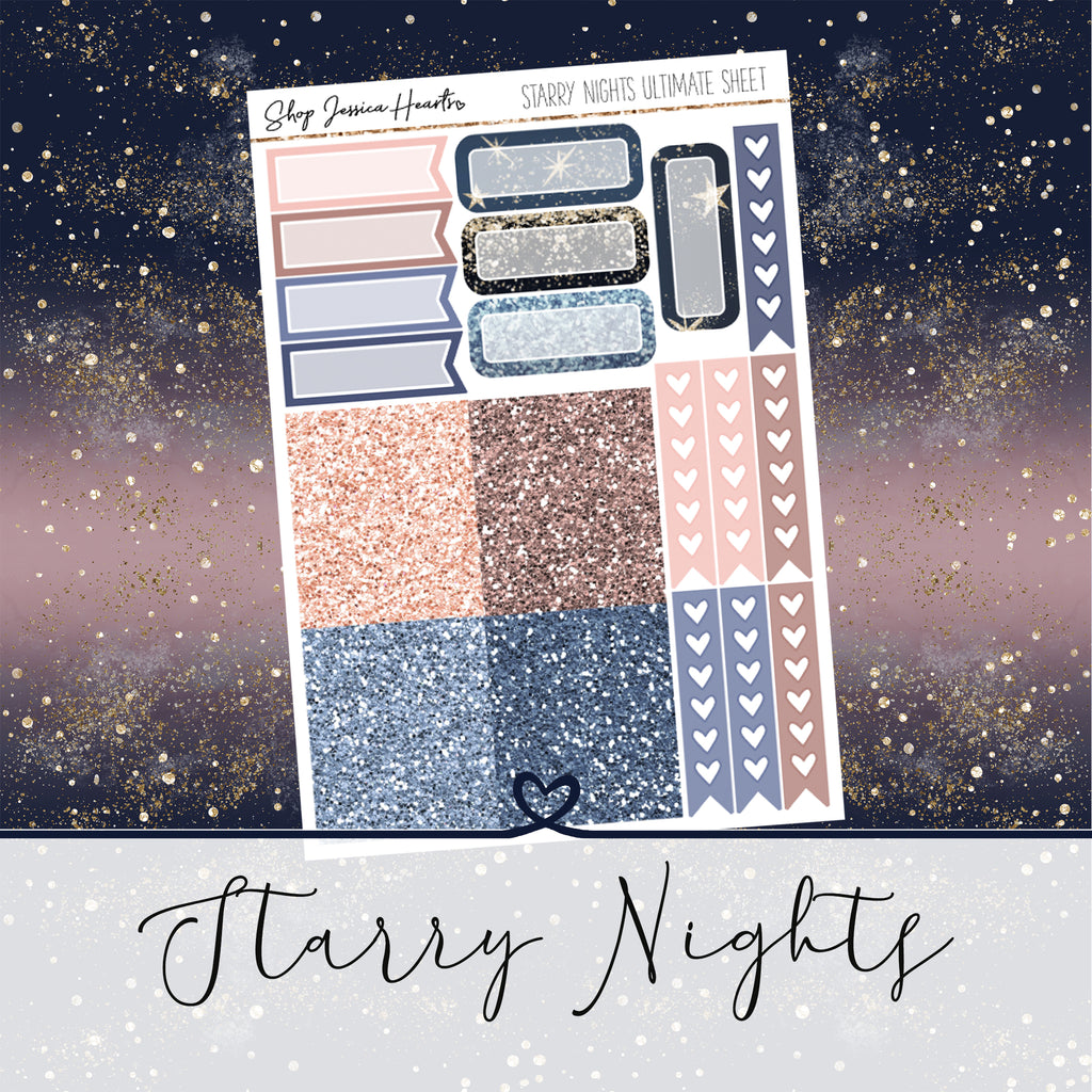 Starry Nights Ultimate Sheet, planner stickers - Jessica Hearts