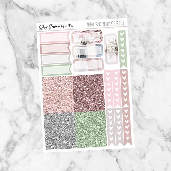 Think Pink Ultimate Sheet, planner stickers - Jessica Hearts