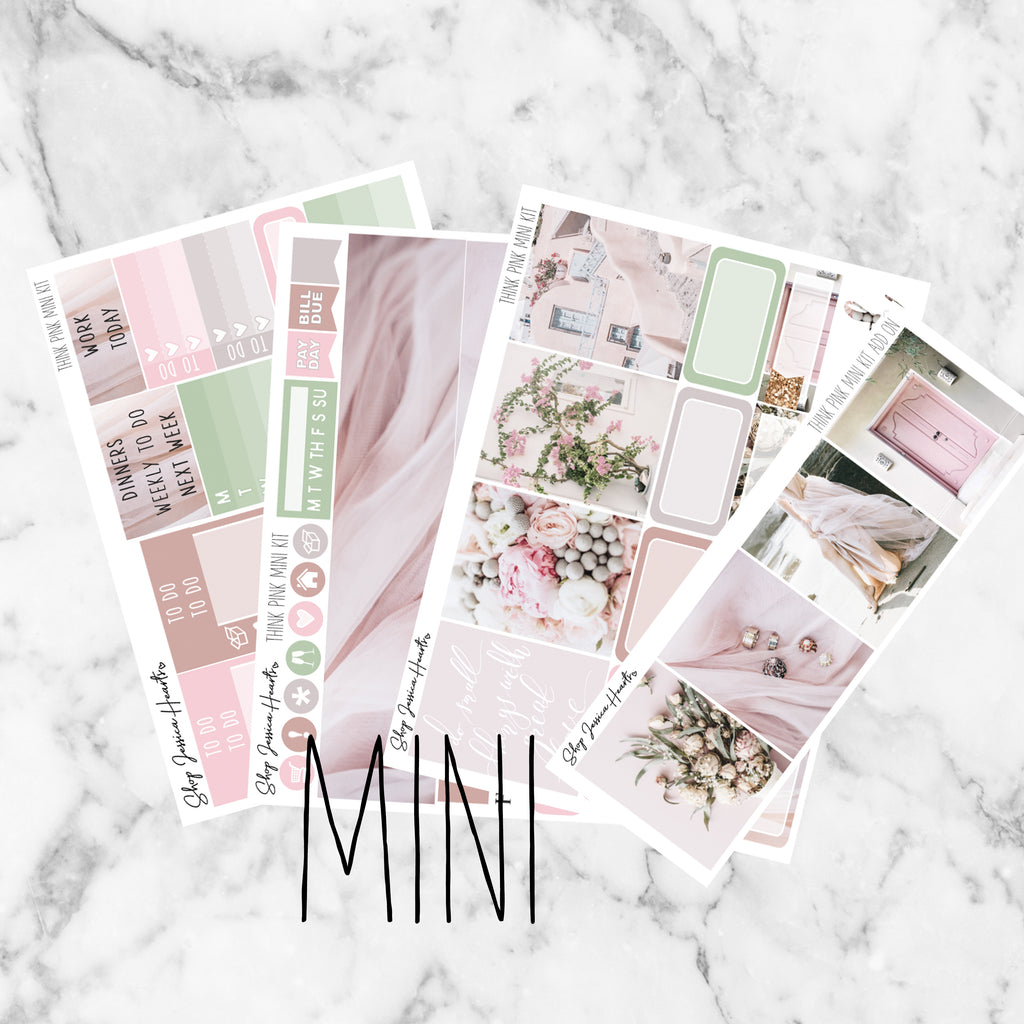 Think Pink Mini Weekly Sticker Kit,  - Jessica Hearts