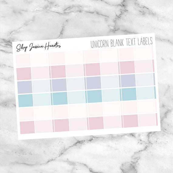 Unicorn Blank Text Labels (Perfect Pair with Foil),  - Jessica Hearts