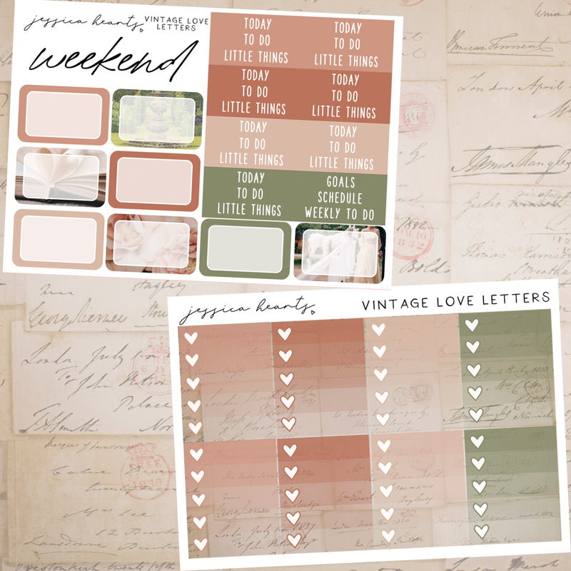 Vintage Love Letters Weekly Sticker Kit