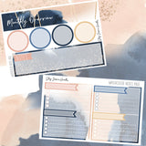 Watercolor July Notes Page Kit, planner stickers - Jessica Hearts