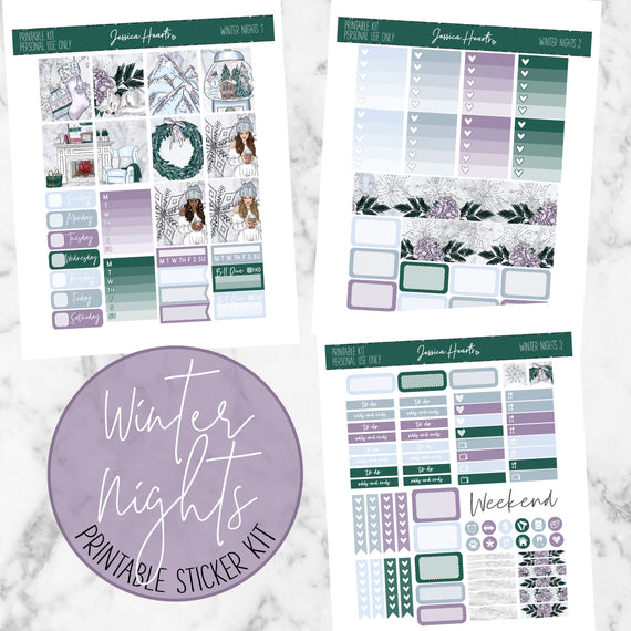 Winter Nights Printable Sticker Kit (Download),  - Jessica Hearts