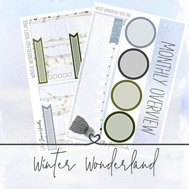 Winter Wonderland December Notes Page Kit, Monthly/Notes Kits - Jessica Hearts