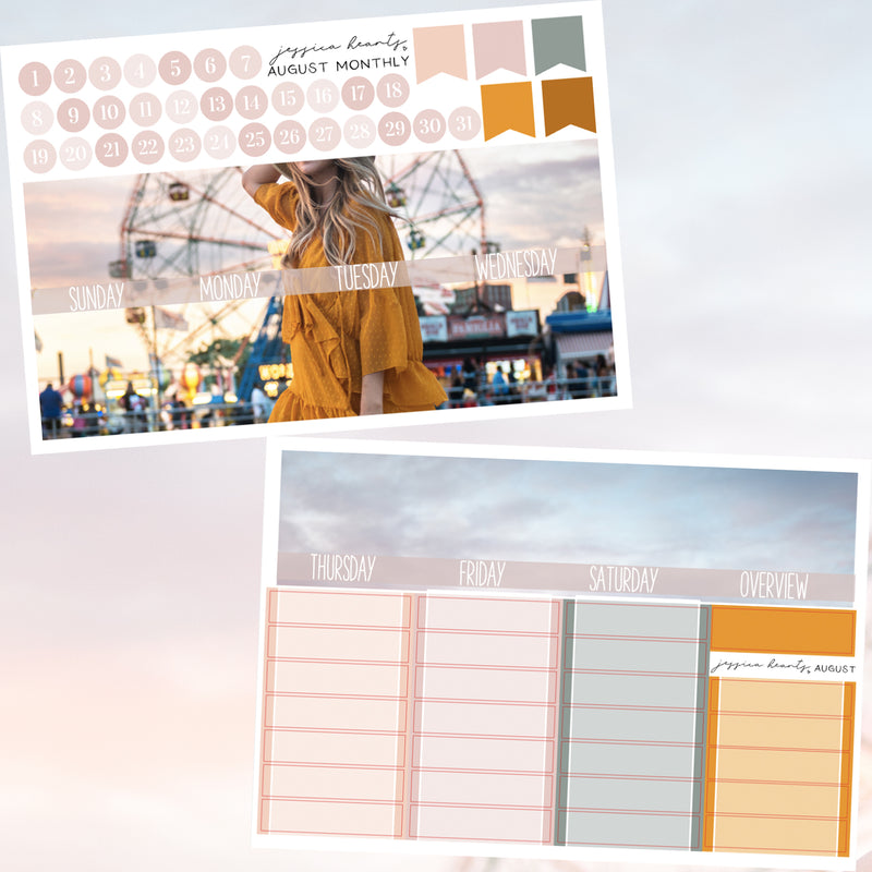Boardwalk BLANK August Monthly Kit + Foil Overlay