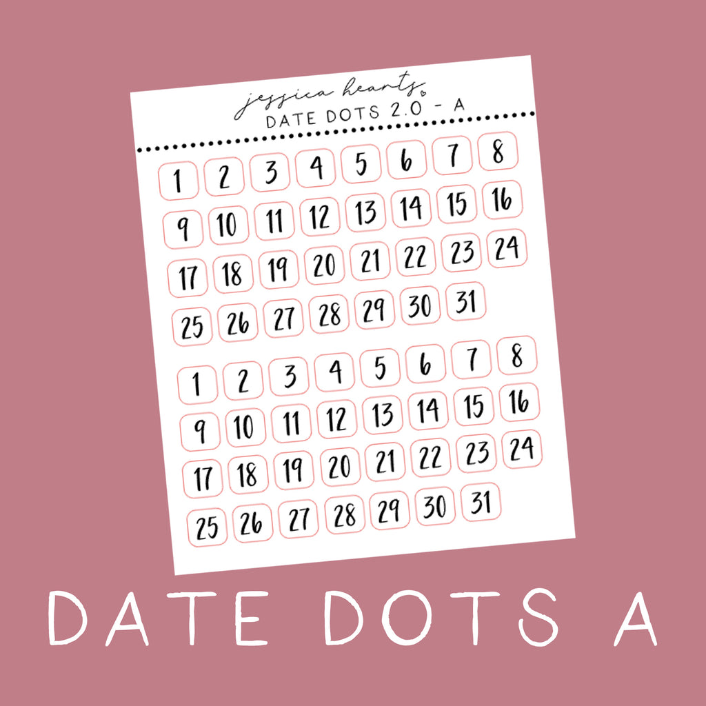 Foil Date Dot Stickers - A (Transparent)