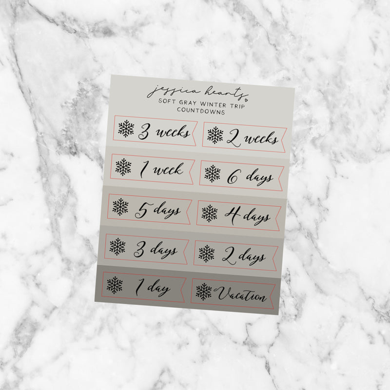Gray Winter Trip Countdown Foil Icons