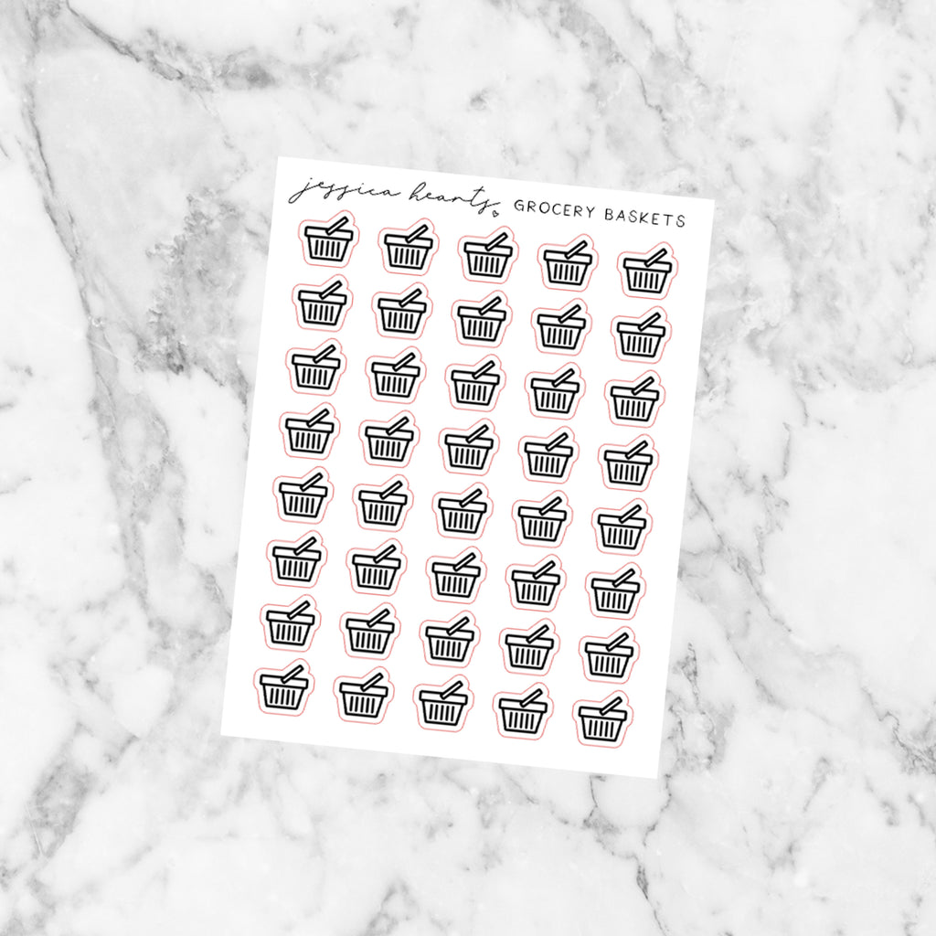 Grocery Basket Foil Stickers (Transparent)