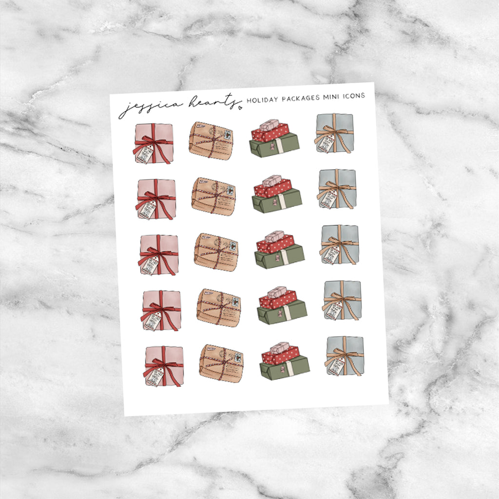 Holiday Package Mini Icons (Transparent Matte Paper)