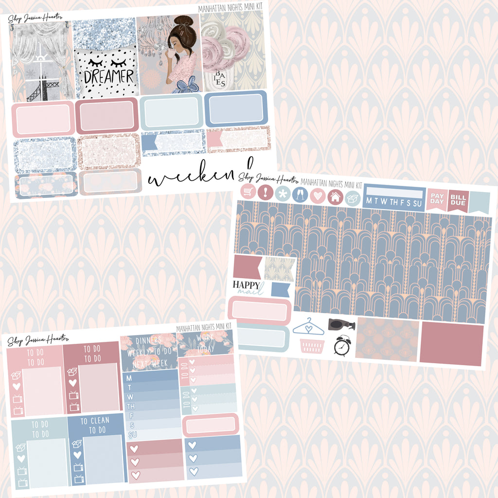 Manhattan Nights MINI Sticker Kit, planner stickers - Jessica Hearts