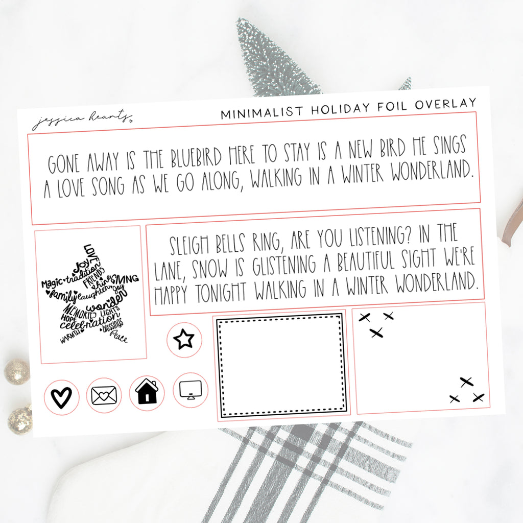 Minimalist Holiday 2.0 Foil Overlay Sticker Sheet (Transparent)