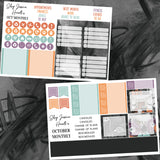 Trick or Treat October Monthly Kit, planner stickers - Jessica Hearts