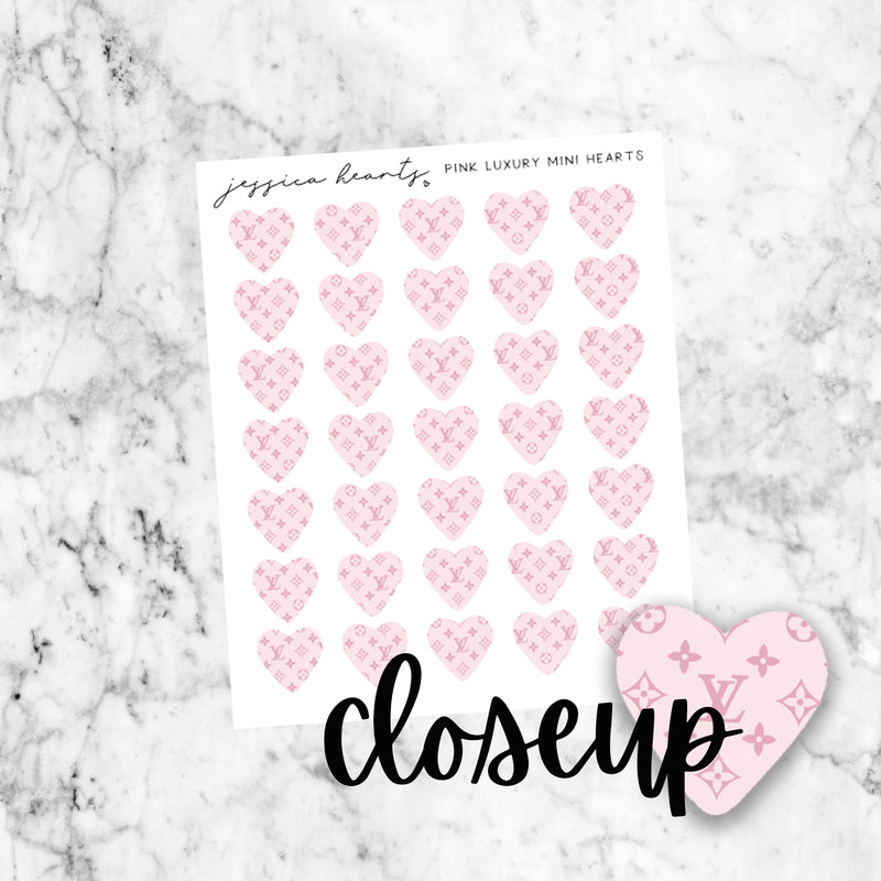 Pink Luxury Heart Mini Icons (Transparent Matte Paper)